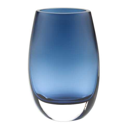 "8"" Mouth Blown Crystal Oval Thick Midnight Blue Walled Vase"
