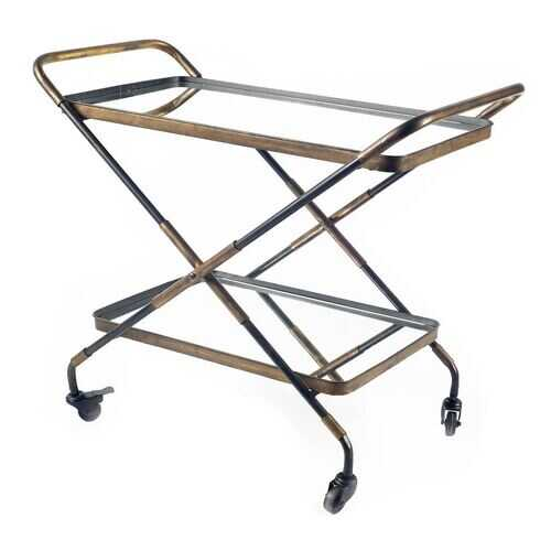 Rectangular Black And Gold Metal With Mirror Glass Shelves Bar Cart