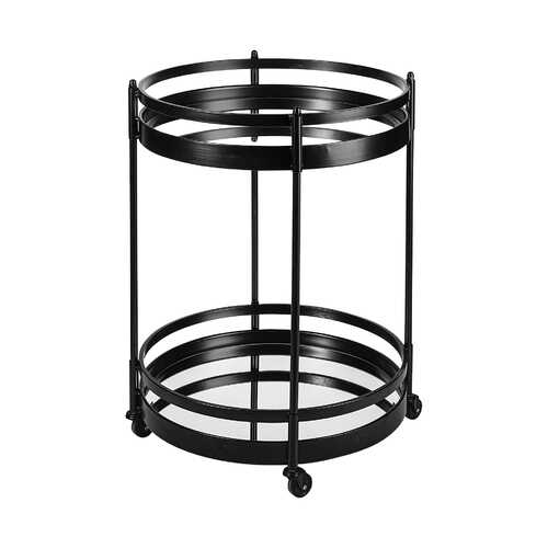 "22"" Black Metal With Two Mirror Glass Botton Shelves Bar Cart"