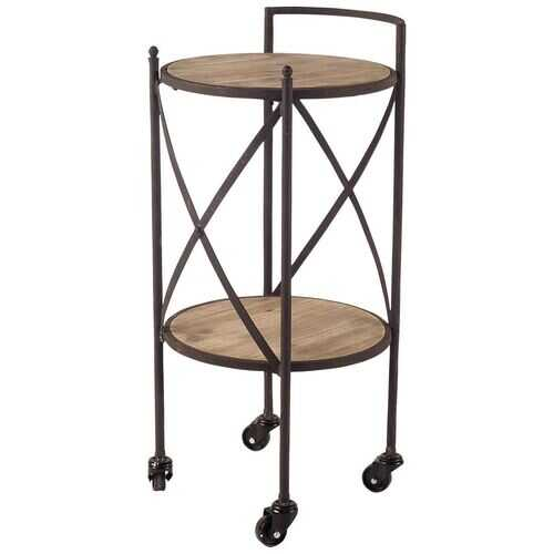 "17"" Black Metal With Two Brown Wooden Shelves Bar Cart"