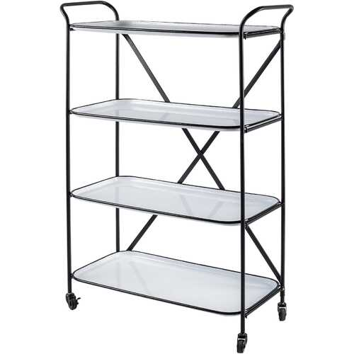 Rectangular Matte Black Metal With  Enamel Glazed Metal Shelves Bar Cart