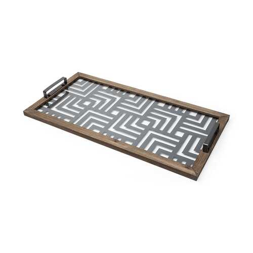 Grey Metal Glasss Top With Maze Like Pattern Tray