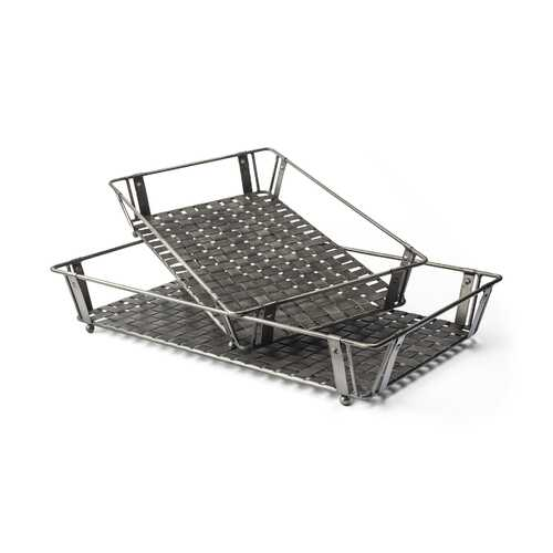 S/2 Grey Polish Metal With Woven Tottom And Open Sides Trays