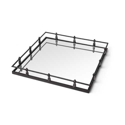 Natural Finish Metal With Mirrored Glass Bottom And Railing Handle Tray