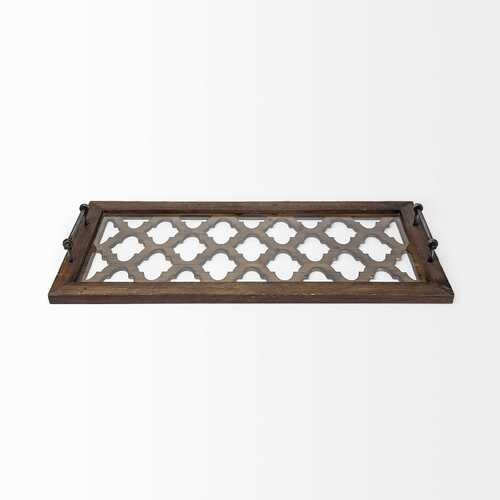 Medium Brown Wood With Metal Quatrefoil Pattern Glass Bottom Tray