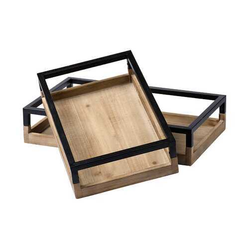 S/2 Natural Finish Wood With Matte Black Base Accent Trays