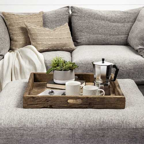 Natural Brown Reclaimed Wood With Grains And Knots Highlight Tray