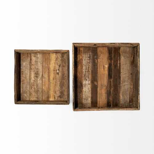 S/2 Natural Finish Wood With Slated Sides Trays