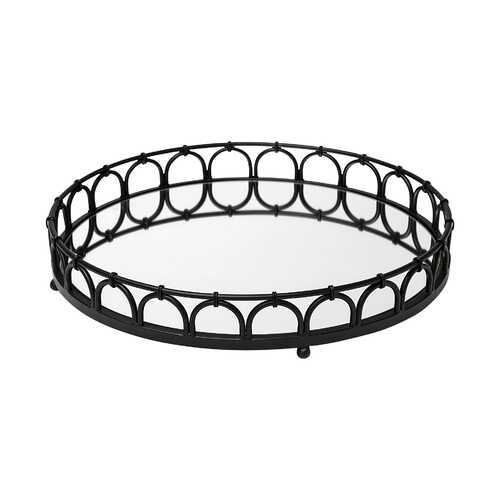 "20"" Matte Black Metal With Intricately Railings And Mirrored Glass Bottom Round Tray"