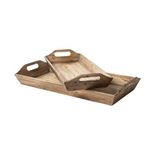 S/2 Natural Brown Wood With Grains And Knots Highlight Trays