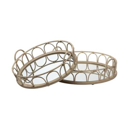 "S/2 20"" Natural Blonde Wood With Intricately Railings And Mirrored Glass Bottom Round Tray"