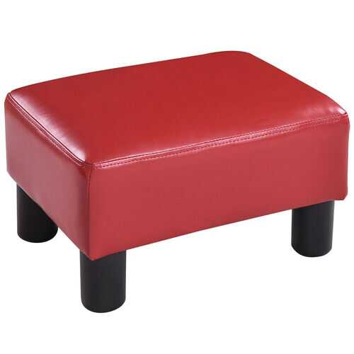 Small PU Leather Rectangular Seat Ottoman Footstool-Red