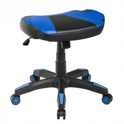 Multi-Use Footrest Swivel Height Adjustable Gaming Ottoman Footstool Chair-Blue