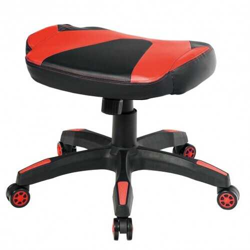 Multi-Use Footrest Swivel Height Adjustable Gaming Ottoman Footstool Chair-Red