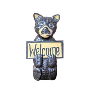 "BEAR STATUE WITH WELCOME SIGN, WOOD, PAINTED,12"" - Sejati"