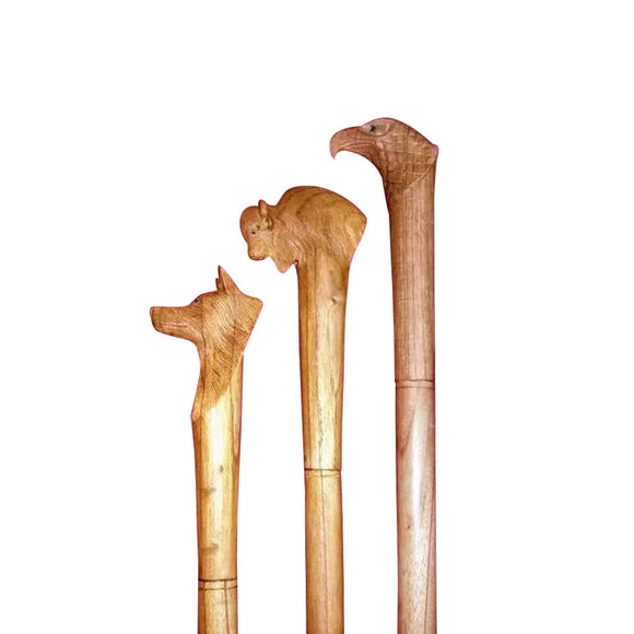 WALKING STICK, HAND CARVED, NATURAL WOOD - Sejati