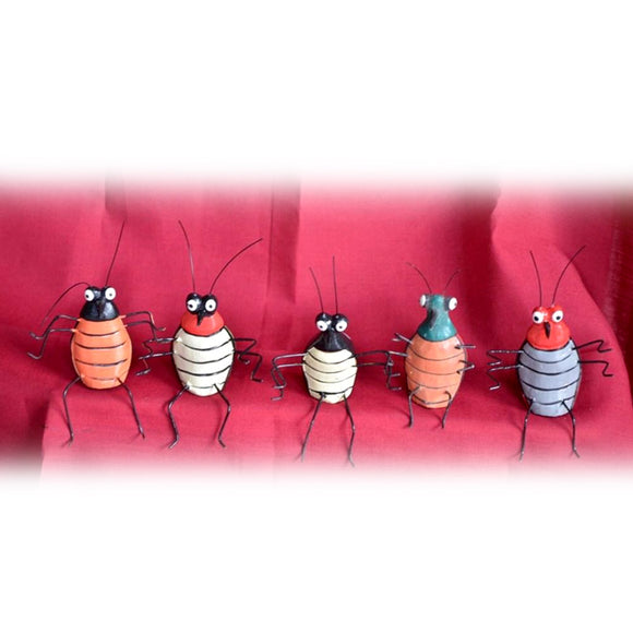 BUGS,  SET OF FIVE, WOOD, PAINTED - Sejati