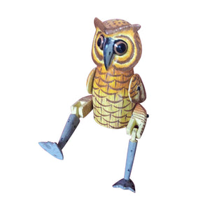 "OWL PUPPET, YELLOW, PAINTED, 10"" - Sejati"