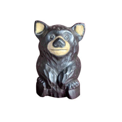 BEAR STATUE, WOOD, PAINTED, 8 INCH