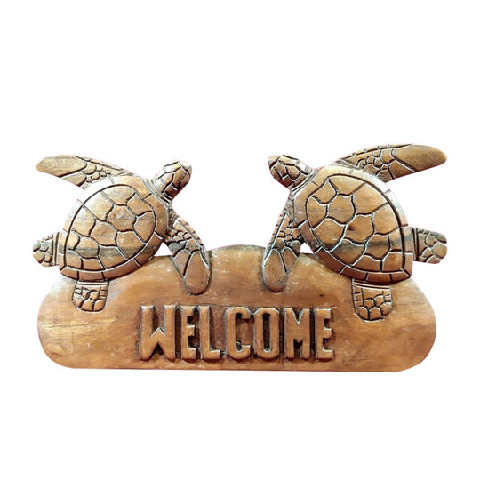 TURTLE, DOUBLE, WELCOME WALL PLAQUE, NATURAL FINISH 12