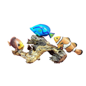 FISH, THREE TROPICAL ON WOOD BURL, PAINTED, SIZE VARIES - Sejati