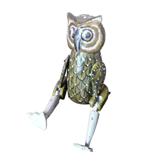 OWL PUPPET, GREEN,PAINTED, 10 INCH