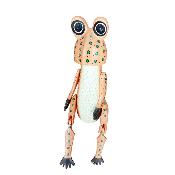 FROG PUPPET, PAINTED, LIGHT ORANGE, 10 INCH - Sejati
