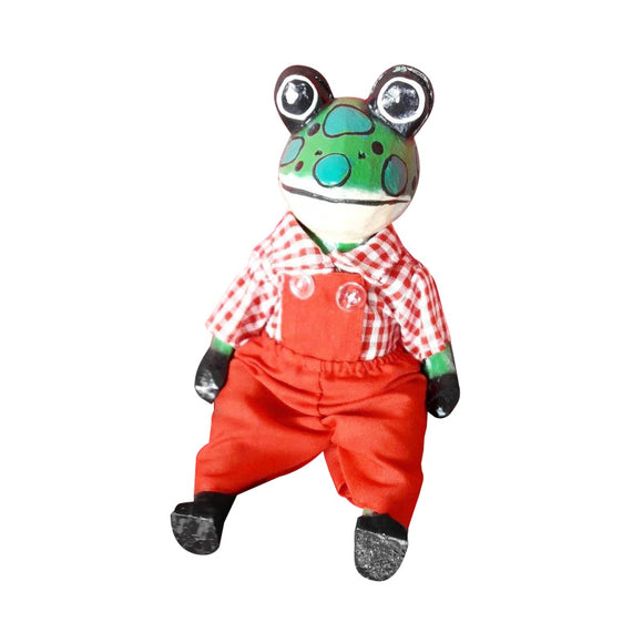FROG PUPPET, PAINTED, CLOTHED, 10