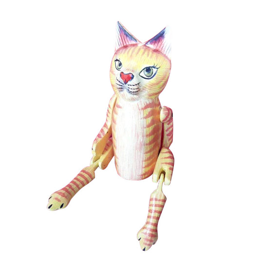CAT PUPPET, PAINTED, YELLOW-ORANGE, 10