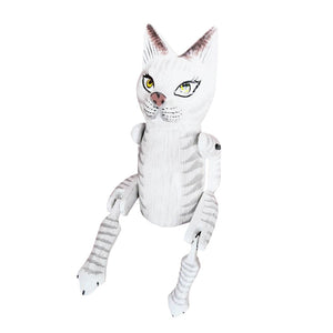 "CAT PUPPET, PAINTED, WHITE, 10"" - Sejati"