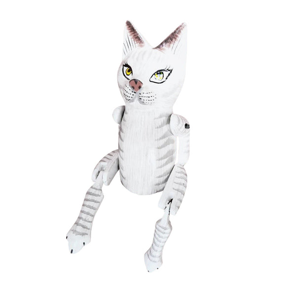 CAT PUPPET, PAINTED, WHITE, 10
