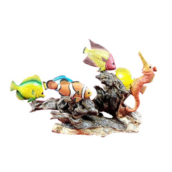 AQUARIUM SCENE, 6 TROPICAL FISH MOUNTED ON DRIFTWOOD