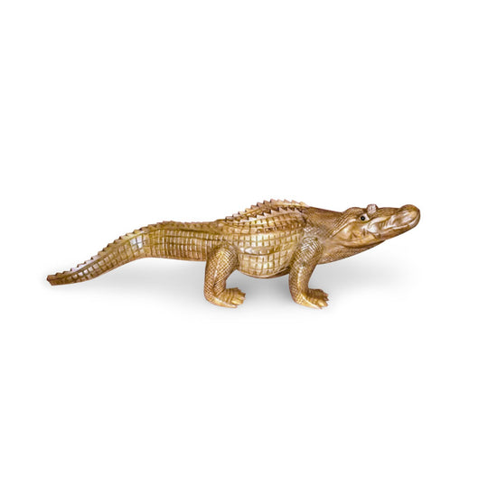 ALLIGATOR, MOUTH CLOSED, NATURAL, SUAR WOOD, 20 INCH