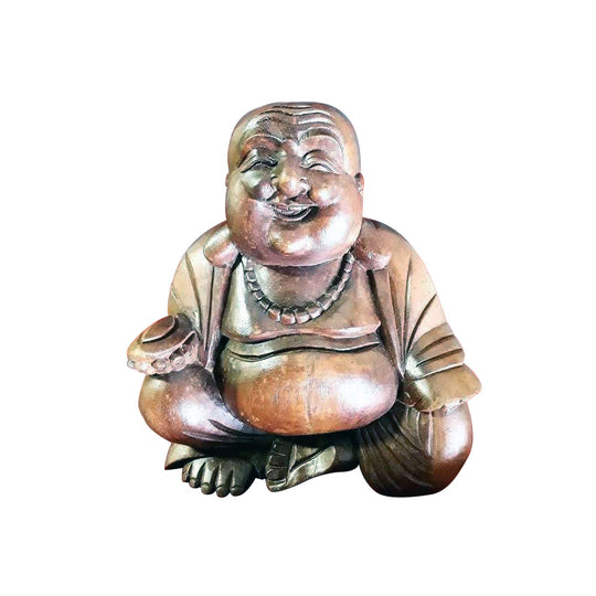BUDDHA, HAPPY, 9 INCH, SUAR WOOD