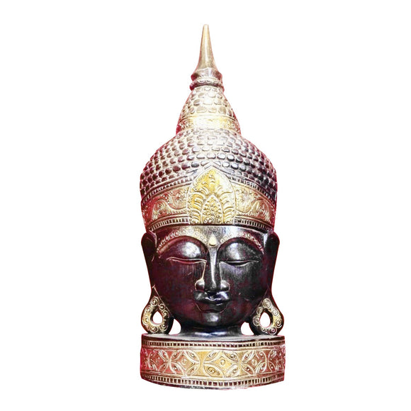 BUDDHA FACE, FREE STANDING, BLACK AND GOLD TRIM, 29