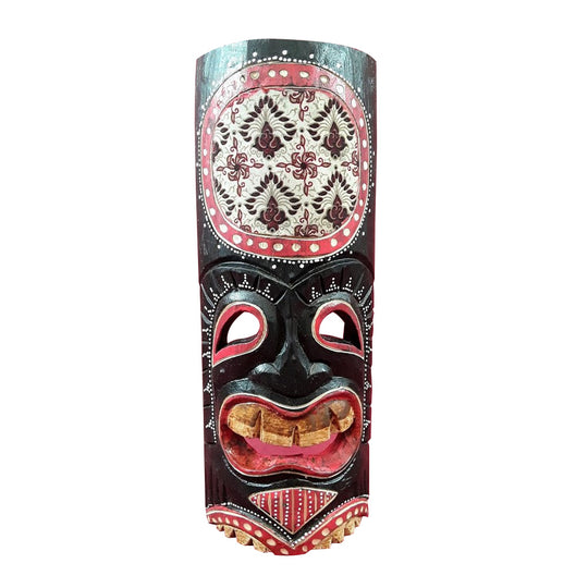 TIKI MASK, 20 INCH, HAND PAINTED WITH DECOUPAGE FABRIC AT TOP