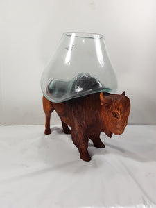 BISON, HAND CARVED WITH GLASS ON BACK, 12 INCHES TALL - Sejati