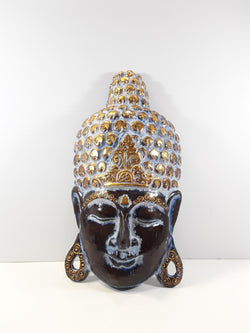 BUDDHA FACE, BLACK AND GOLD, FREE-STANDING, 20 INCH