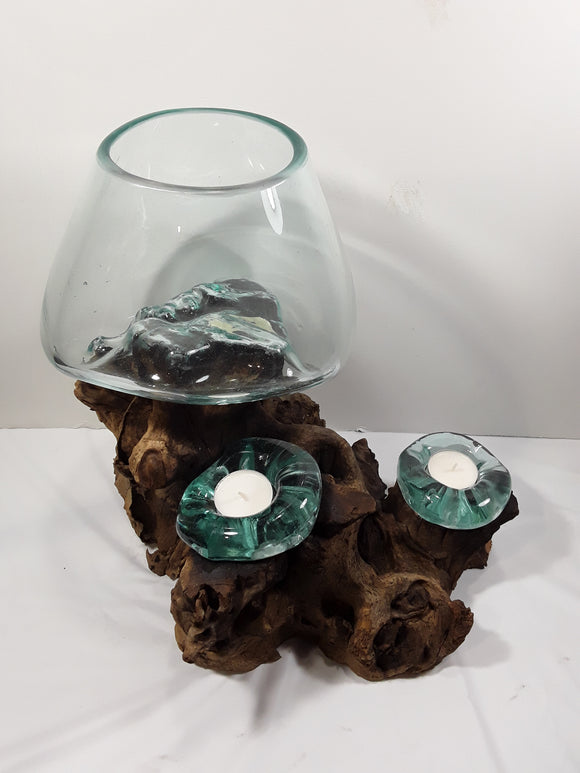 HAND BLOWN GLASS GLOBE WITH TWO CANDLE HOLDERS ON A DRIFT BASE - Sejati