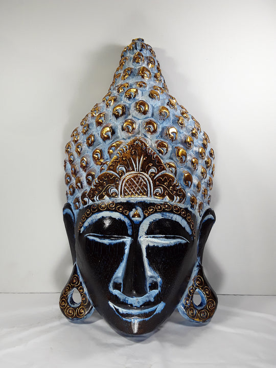 BUDDHA, WALL HANGING MASK, 20 INCH, BLUE TONES