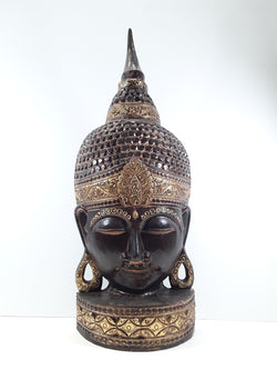 BUDDHA FACE, FREE STANDING, BLACK WITH GOLD TRIM, 29 INCH