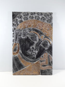 BUDDHA FACE WALL PLAQUE 23 X 15, BLACK WITH GOLD AND SILVER TRIM