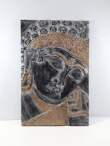 "BUDDHA WALL PLAQUE, BLACK AND GOLD, 23"" X 15"""