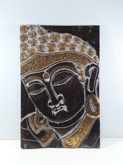 BUDDHA FACE WALL PLAQUE, 23 X 15, BROWN WITH SILVER AND GOLD TRIM