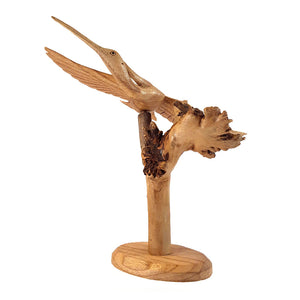 "HERON IN FLIGHT, CHINABERRY, NATURAL FINISH, 7"" WITH STAND - Sejati"