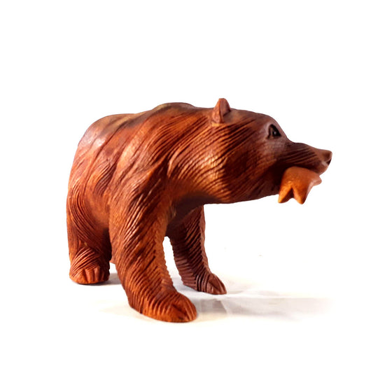 "BEAR, WITH FISH IN MOUTH, 8"", SUAR WOOD"