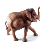 ELEPHANT, HAND CARVED SUAR WOOD, NATURAL, 8 INCH - Sejati