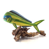 MAHI MAHI FISH CARVING ON DRIFTWOOD BASE, PAINTED