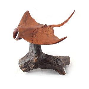 "MANTA RAY ON DRIFTWOOD BASE, 16"" WING SPAN, BEAUTIFUL - Sejati"