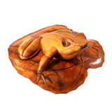 FROG ON LOTUS LEAF,  HARDWOOD, 10 INCH